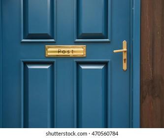 blue door handle