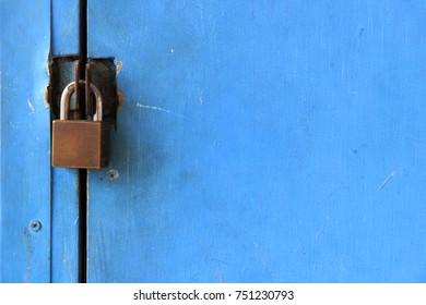 Blue door lock background