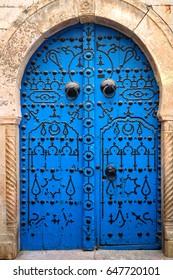 blue door in north african city