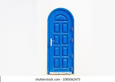 Blue door of one of buildings
