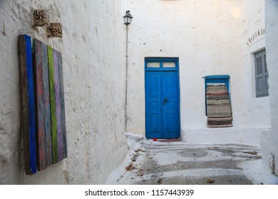 A blue door in one of the small streets of Astypalaia in the Dodecanese islands of Greece