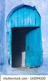 Blue door open in chaouen