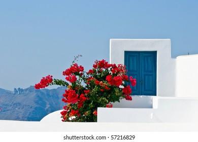 Blue door with red flowers in Santorini, Greece