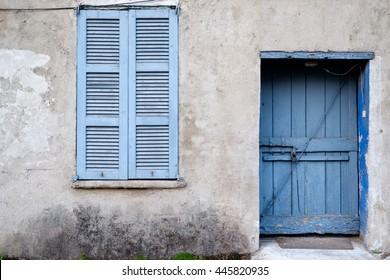 blue door and window