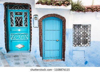 Blue Doors in Chefchaouen Medina, Morocco