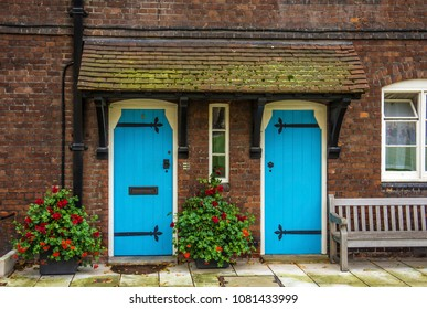Blue doors and flowers in London, England