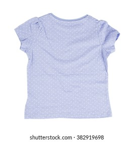 Blue dotted cotton t-shirt. Isolated on a white background.