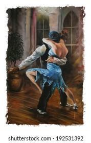 Blue Dress dancing Couple Torn Edges