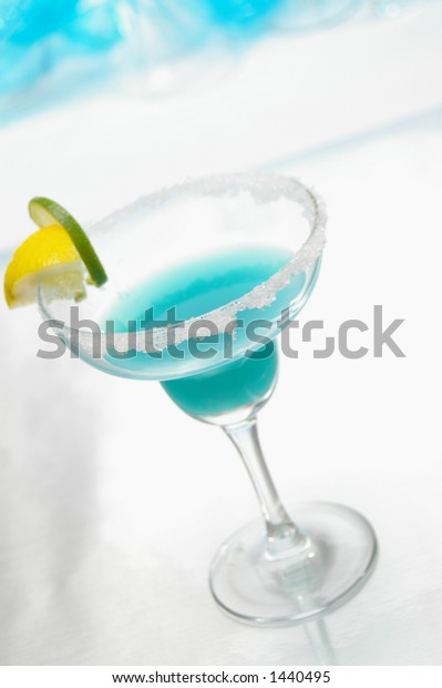Blue drink in corner to allow for copy area.