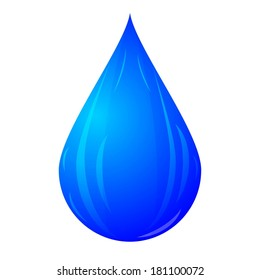 blue drop isolated on white background raster