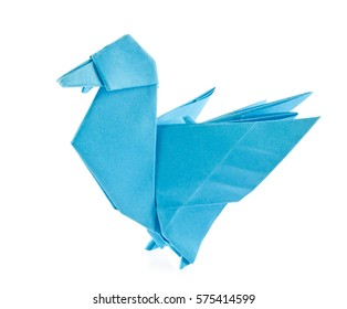 Blue duck of origami, isolated on white background