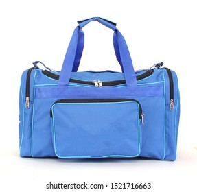 blue duffel bag isolated on white background