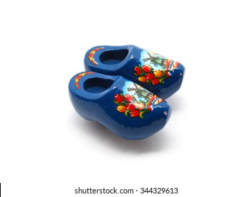 Blue Dutch clog with Holland isolated on white
