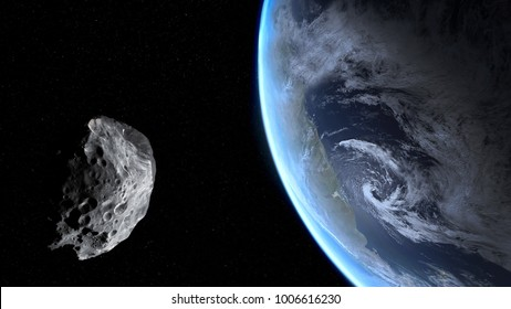 Blue Earth and asteroid. Dark background. Elements of this image furnished by NASA