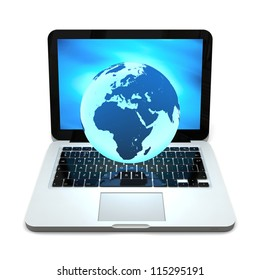 Blue Earth hovering above laptop computer, concept of global network, internet and portability, isolated on white background. Elements of this image furnished by NASA