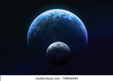 Blue Earth and moon in the space. Dark background. Blue gradient. Space wallpaper. Elements of this image furnished by NASA