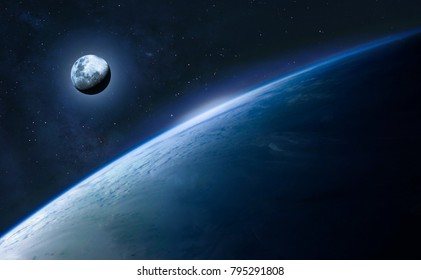 Blue Earth and moon in the space. Space wallpaper. Elements of this image furnished by NASA