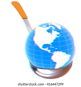Blue earth on soup ladle on a white background. 3D illustration. Anaglyph. View with red/cyan glasses to see in 3D.