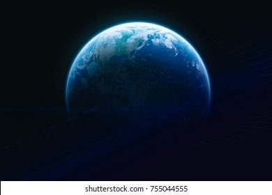 Blue Earth with sci fi background space. Dark background. Blue gradient. Elements of this image furnished by NASA