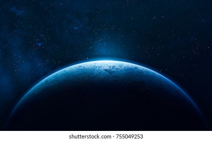Blue Earth in the space. Colorful art. Solar system. Blue gradient. Space wallpaper. Elements of this image furnished by NASA - Shutterstock ID 755049253