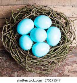 Blue Easter eggs in nest on wooden background.