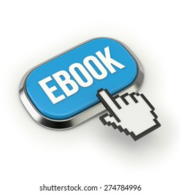 Blue e-book button with metallic border on white background