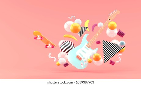 Blue electric guitar amidst colorful balls on a pink background.-3d render.