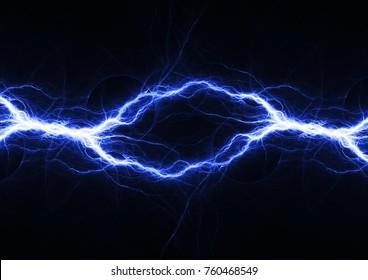 Blauer elektrischer Blitz, abstrakter Plasmahintergrund