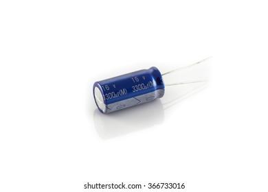 Blue electrolytic capacitor isolated on white