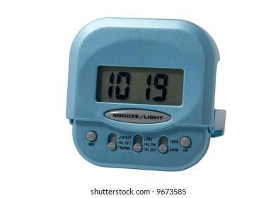 Blue electronic alarm clock isolated on white background