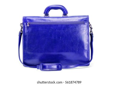 Blue elegant, modern leather briefcase  with Professional Style isolated on white background