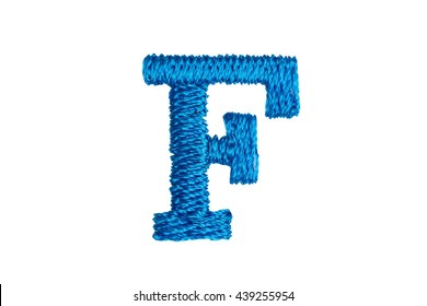 Blue Embroidery Designs alphabet F isolate on white background
