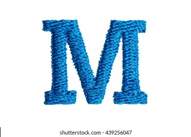 Blue Embroidery Designs alphabet M isolate on white background
