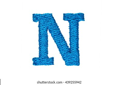 Blue Embroidery Designs alphabet N isolate on white background