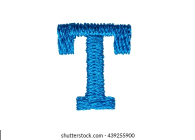 Blue Embroidery Designs alphabet T isolate on white background