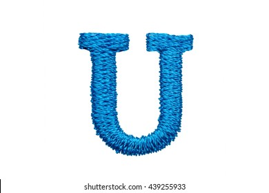 Blue Embroidery Designs alphabet U isolate on white background