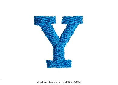 Blue Embroidery Designs alphabet Y isolate on white background