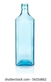 Blue empty bottle. Isolated on white background