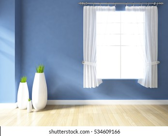 blue empty interior with curtains and vases. scandinavian interior. 3d illustration