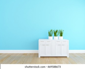 blue empty interior with a dresser and vases. 3d illustration