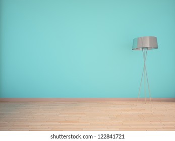 blue empty interior with lamp