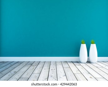 Blue empty interior with large vases. 3d illustration
