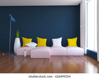 blue empty interior with a pink sofa and white vases. 3d illustration