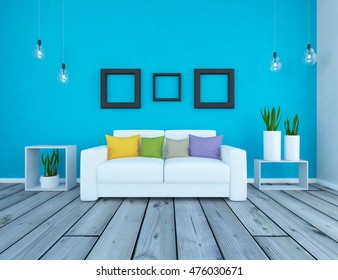 blue empty interior with a white sofa. 3d illustration