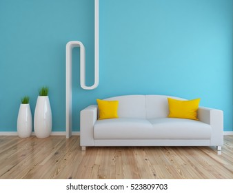 blue empty interior with a white sofa and vases. 3d illustration