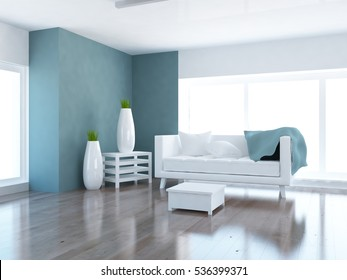 blue empty interior with a white sofa, large window and vases. scandinavian interior. 3d illustration