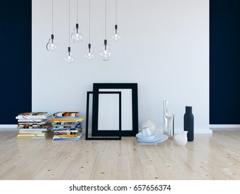 blue empty interior with a white wall and decor. 3d illustration