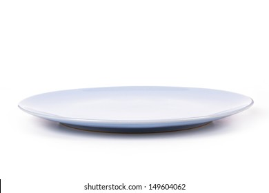 Blue, empty plate, side view, isolated on white background.