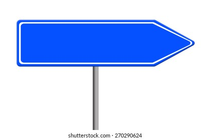 blue empty road sign template for text on silver pole, white background