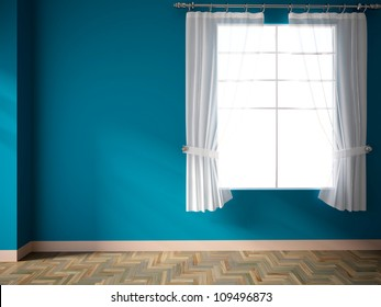 blue empty room with window and curtains